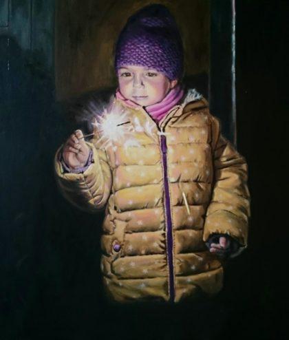 """Ein Gemälde von Frank """"Franco"""" Haustein, das ein kleines Mädchen mit Wunderkerze zeigt"""